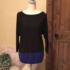 Soft Talbots Black Sweater w/ Blue NWT